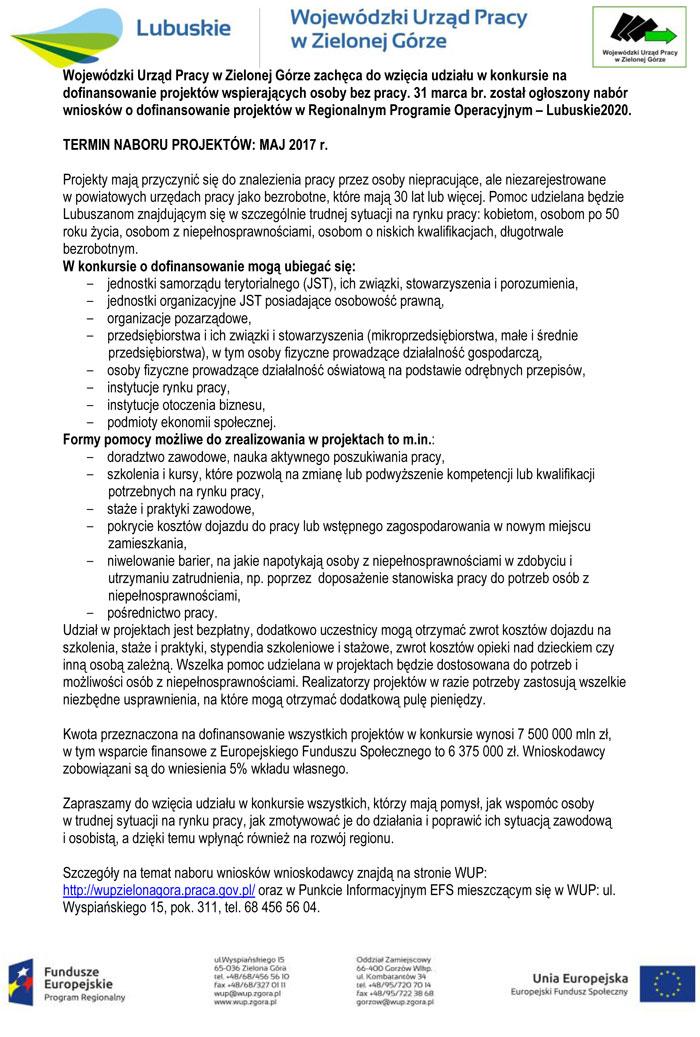 Ilustracja do informacji: Konkurs na dofinansowanie projektów wspierających osoby bez pracy ogłoszony przez Wojewódzki Urząd Pracy w Zielonej Górze konkursu w ramach Działania 6.2 Regionalnego Programu Operacyjnego-Lubuskie 2020