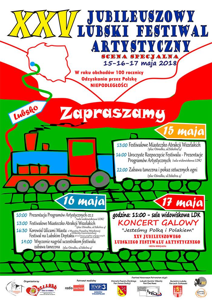 Ilustracja do informacji: XXV Jubileuszowy Lubski Festiwal Artystyczny - scena specjalna ZAPROSZENIE