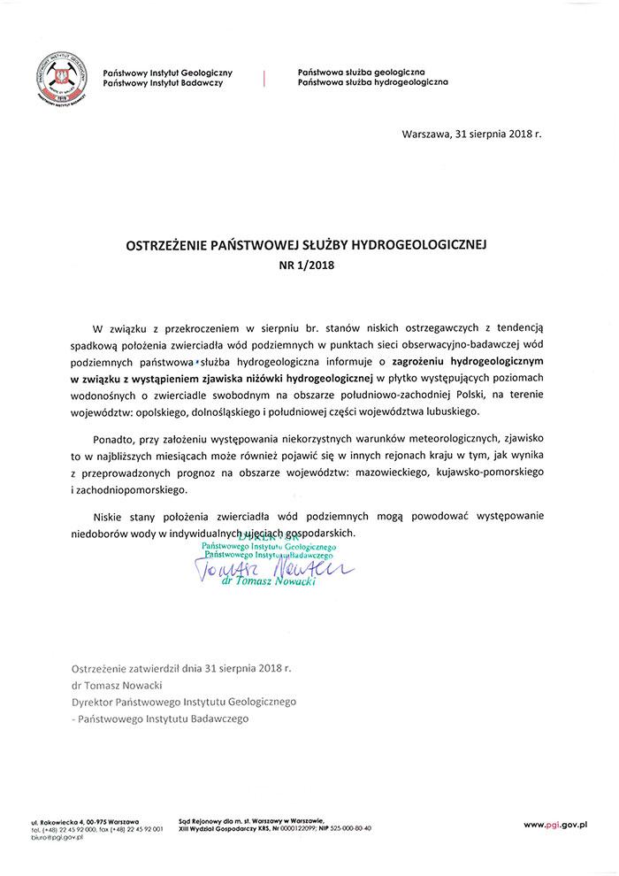 Ilustracja do informacji: Ostrzeżenie Służby Hydrogeologicznej