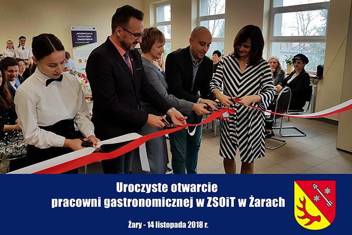 Ilustracja do informacji: Uroczyste otwarcie pracowni gastronomicznej w ZSOiT w Żarach