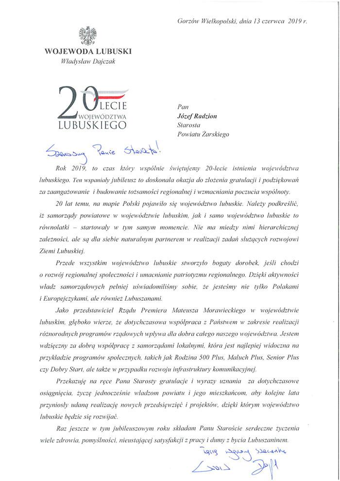 Ilustracja do informacji: List Wojewody Lubuskiego Władysława Dajczaka
