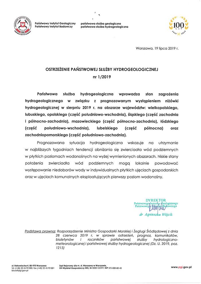 Ilustracja do informacji: Ostrzeżenie Państwowej Służby Hydrogeologicznej