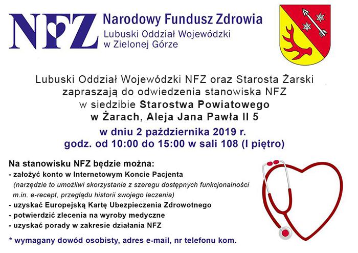 Ilustracja do informacji:  Stanowisko NFZ w Starostwie Powiatowym w Żarach