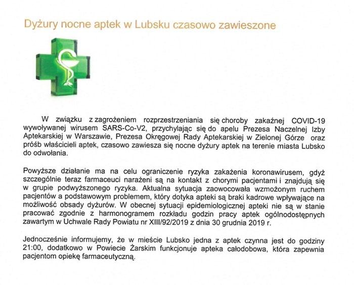 Ilustracja do informacji: Dyżury nocne aptek w Lubsku czasowo zawieszone.