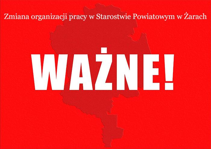 Ilustracja do informacji: Zmiana organizacji pracy w Starostwie Powiatowym w Żarach.