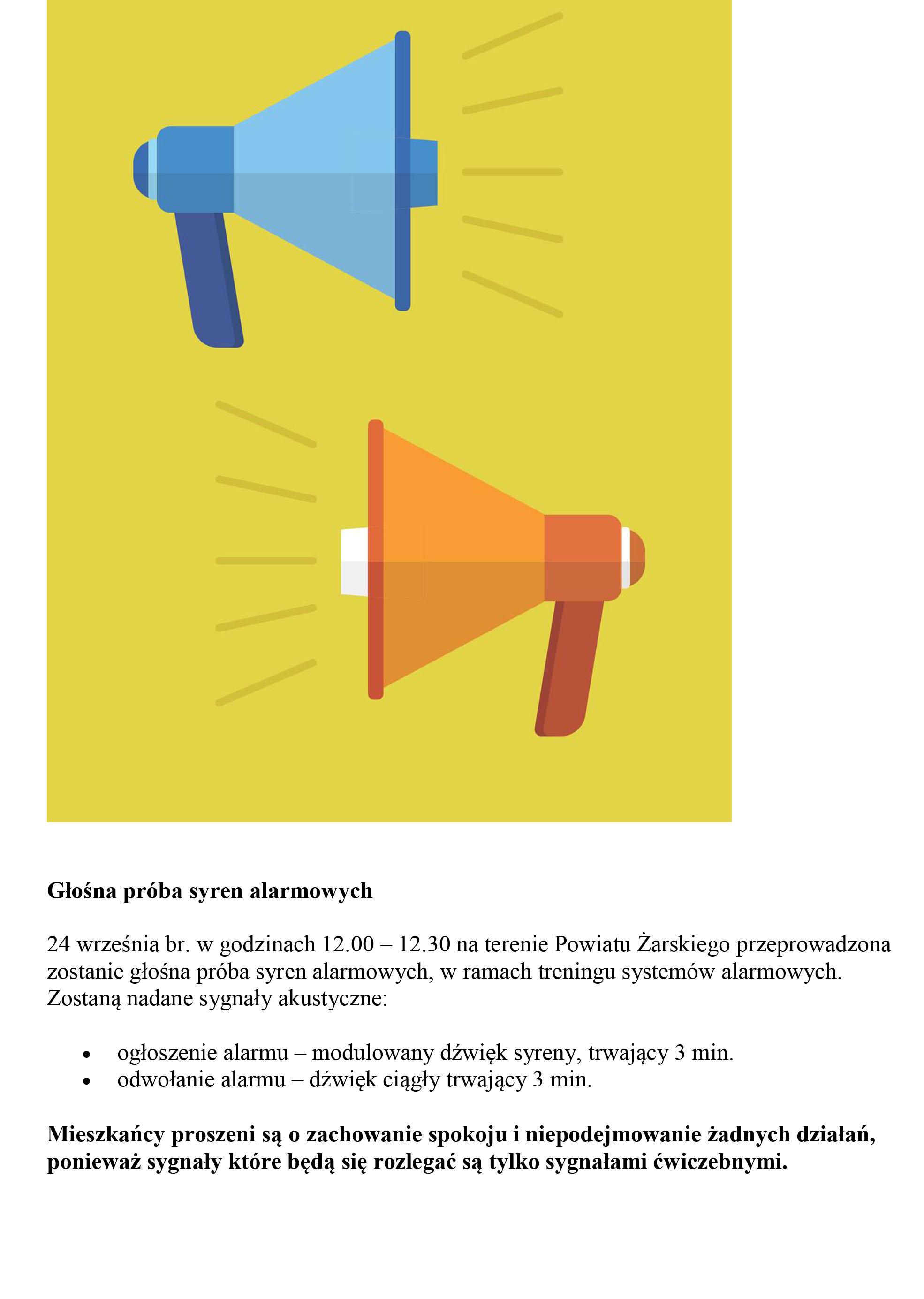 Ilustracja do informacji: Głośna próba syren