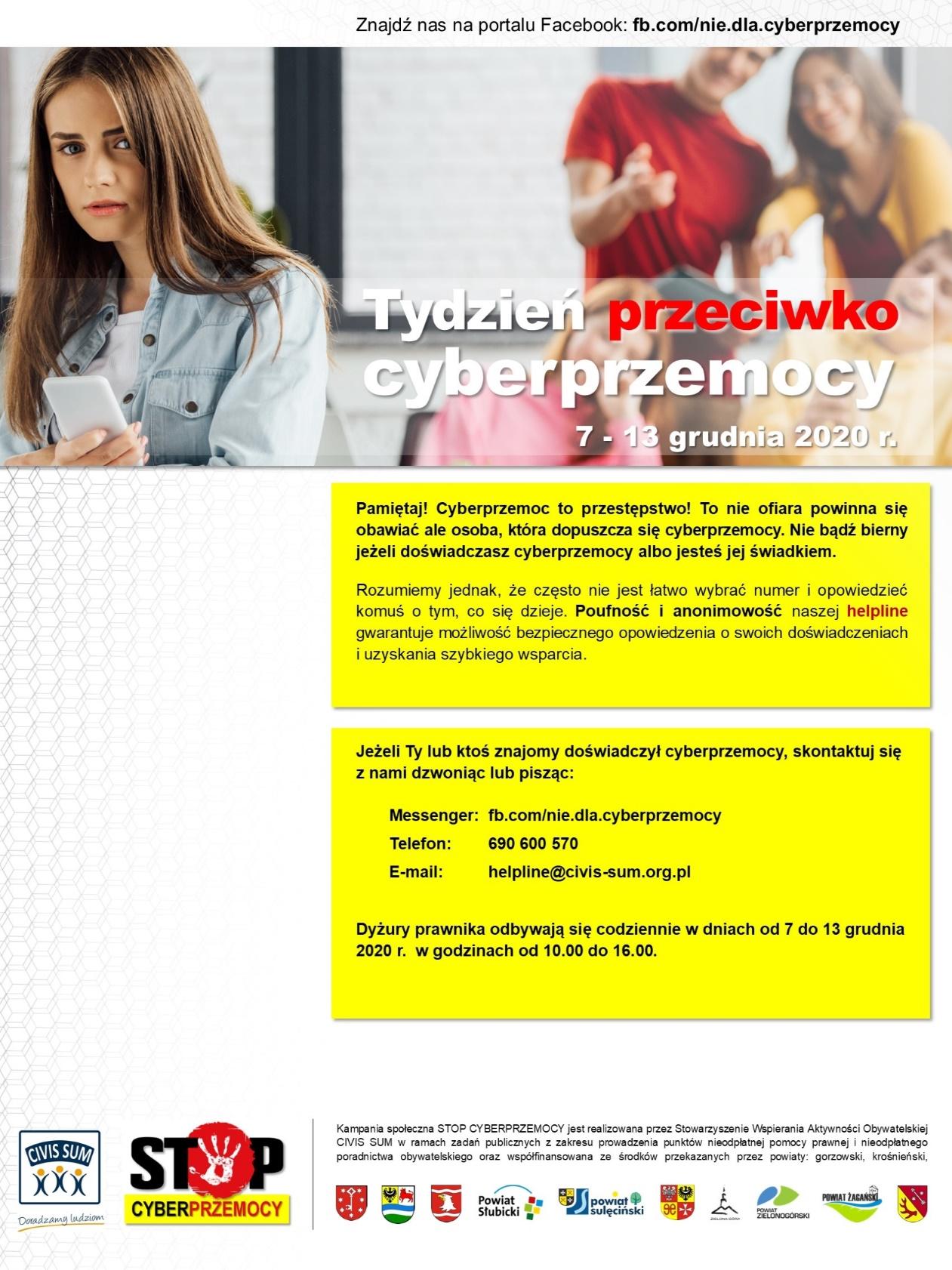 Ilustracja do informacji: Tydzień przeciwdziałania cyberprzemocy