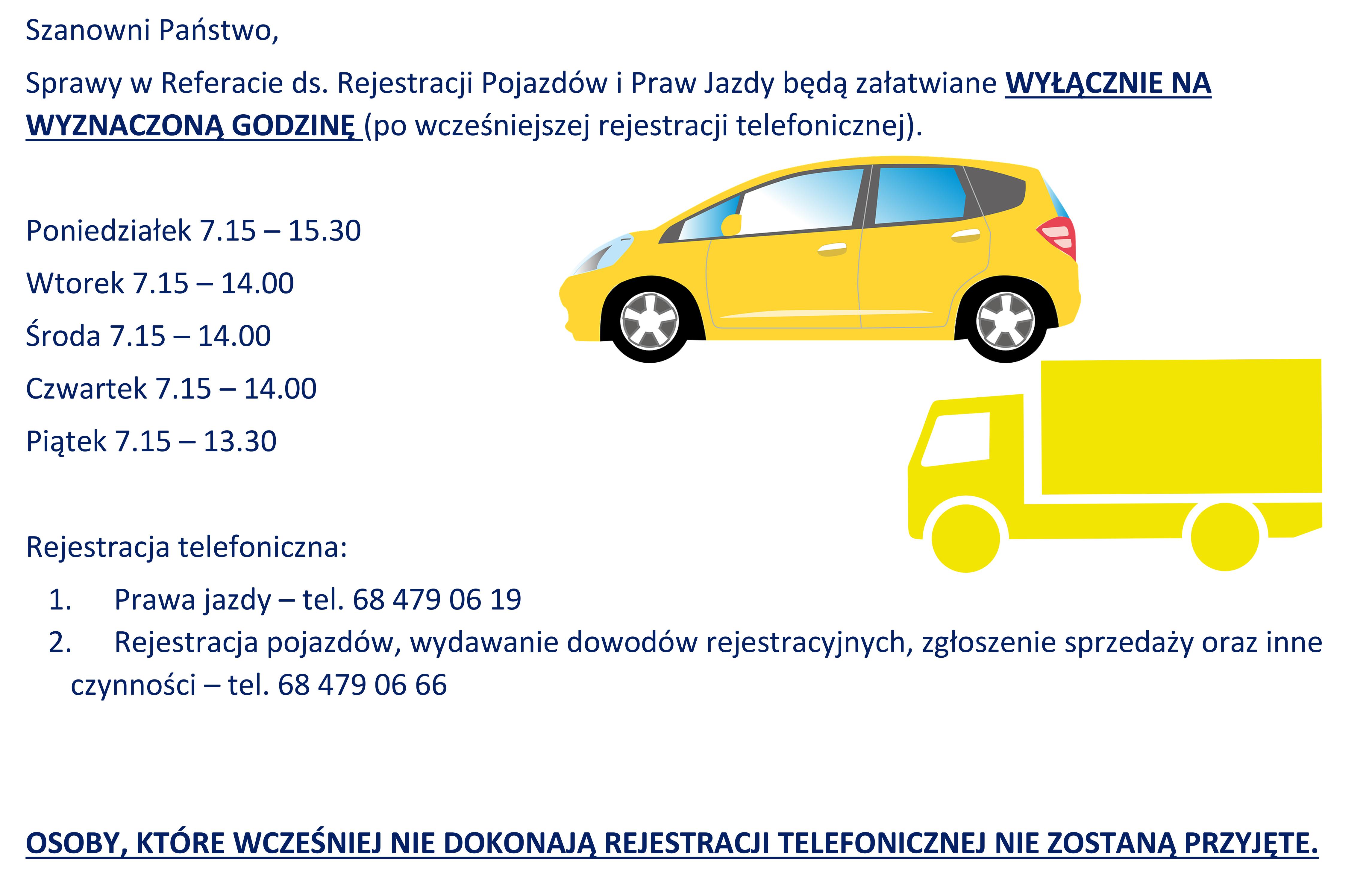 Ilustracja do informacji: Przypominamy zasady dotyczące Referatu ds. Rejestracji Pojazdów i Praw Jazdy