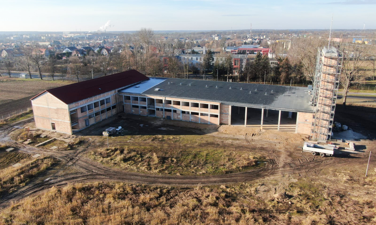 Ilustracja do informacji: Postęp prac na budowie strażnicy KP PSP w Żarach.